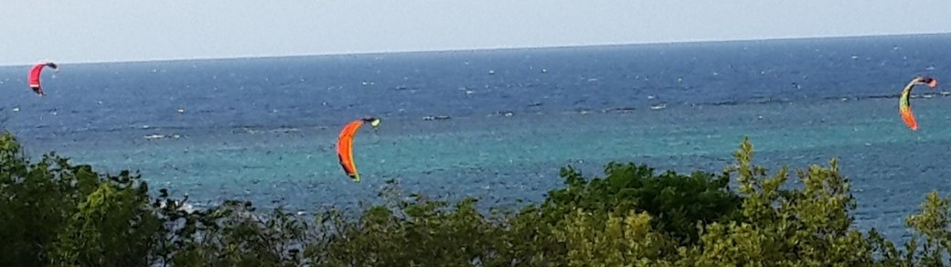 Kite surfing out front
